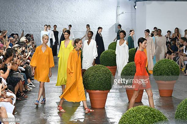 A model walks the runway at the Tibi Ready to Wear Spring Summer 2017 fashion show during New York Fashion Week September 2016 on September 10 2016...