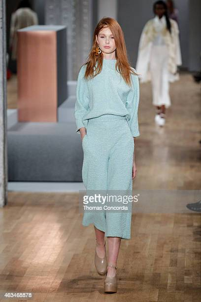 Model walks the runway at the Tibi show during Mercedes-Benz Fashion Week Fall 2015 at The Waterfront on February 14, 2015 in New York City.