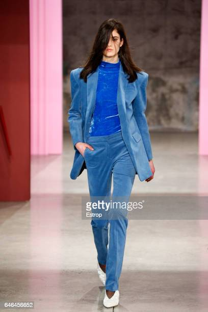 A model walks the runway at the Tibi show during the New York Fashion Week February 2017 collections on February 11 2017 in New York City