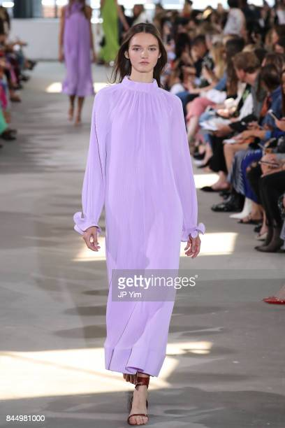 A model walks the runway at the Tibi SS 2018 Collection during New York Fashion Week at Fulton Market Building on September 9 2017 in New York City