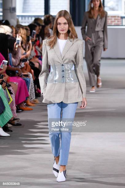 Model walks the runway at the Tibi SS 2018 Collection during New York Fashion Week at Fulton Market Building on September 9, 2017 in New York City.