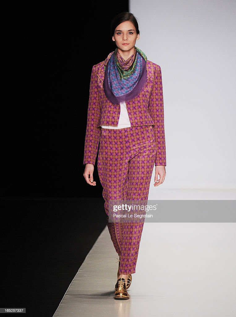 A model walks the runway at the Timur Kim show during Mercedes-Benz Fashion Week Russia Fall/Winter 2013/2014 at Manege on April 2, 2013 in Moscow, Russia.