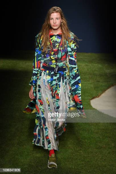 Model walks the runway at the Tiziano Guardini show during Milan Fashion Week Spring/Summer 2019 on September 20, 2018 in Milan, Italy.