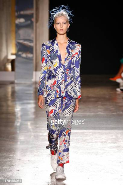 Model walks the runway at the Tiziano Guardini show during the Milan Fashion Week Spring/Summer 2020 on September 18, 2019 in Milan, Italy.