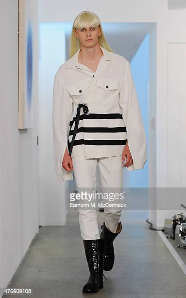 Model walks the runway at the Todd Lynn presentation during The London Collections Men SS16 on June 12, 2015 in London, England.