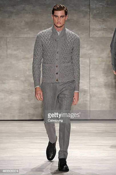 A model walks the runway at the Todd Snyder Autumn Winter 2015 fashion show during New York Fashion Week on February 12 2015 in New York United States