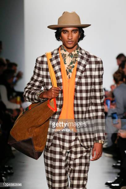 Model walks the runway at the Todd Snyder Fall/Winter 2020-2021 fashion show during New York Fashion Week Men's on February 5, 2020 in New York City.