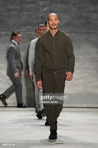 A model walks the runway at the Todd Snyder fashion show at The Pavilion at Lincoln Center on February 12 2015 in New York City