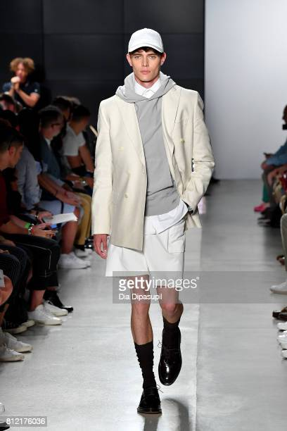 A model walks the runway at the Todd Snyder fashion show during NYFW Men's July 2017 at Cadillac House on July 10 2017 in New York City