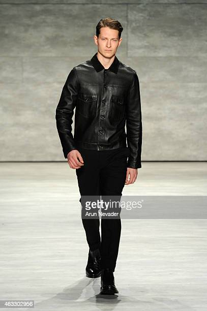 A model walks the runway at the Todd Snyder fashion show during MercedesBenz Fashion Week Fall 2015 at The Pavilion at Lincoln Center on February 12...