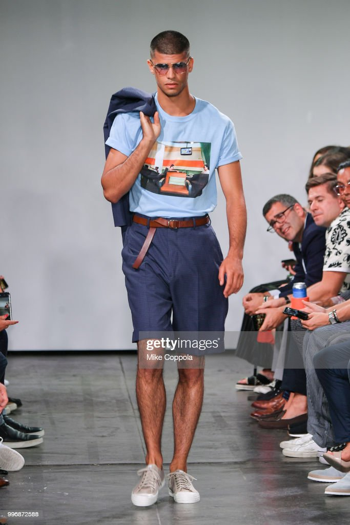 A model walks the runway at the Todd Snyder show - Runway - July 2018 New York City Men's Fashion Week at Industria Studios on July 11, 2018 in New York City.