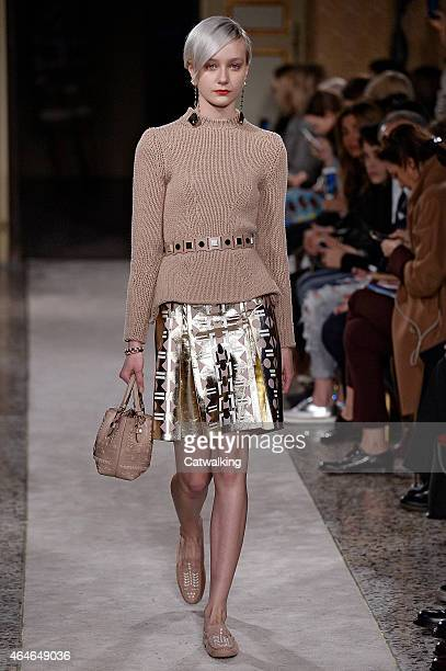 A model walks the runway at the Tod's Autumn Winter 2015 fashion show during Milan Fashion Week on February 27 2015 in Milan Italy