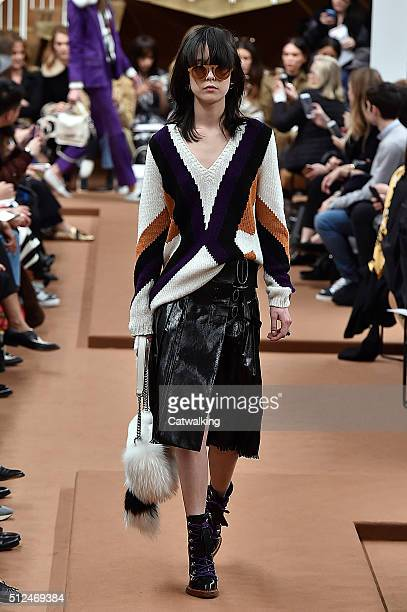 A model walks the runway at the Tod's Autumn Winter 2016 fashion show during Milan Fashion Week on February 26 2016 in Milan Italy
