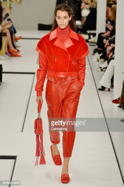 A model walks the runway at the Tod's Autumn Winter 2017 fashion show during Milan Fashion Week on February 24 2017 in Milan Italy