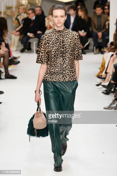 Model walks the runway at the Tod´s show at Milan Fashion Week Autumn/Winter 2019/20 on February 20, 2019 in Milan, Italy.