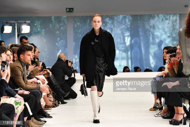 Model walks the runway at the Tod's show at Milan Fashion Week Autumn/Winter 2019/20 on February 22, 2019 in Milan, Italy.
