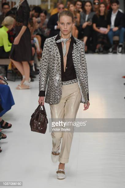 Model walks the runway at the Tod's show during Milan Fashion Week Spring/Summer 2019 on September 21, 2018 in Milan, Italy.