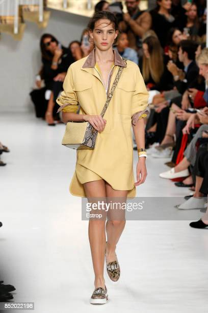 A model walks the runway at the Tod's show during Milan Fashion Week Spring/Summer 2018 on September 22 2017 in Milan Italy