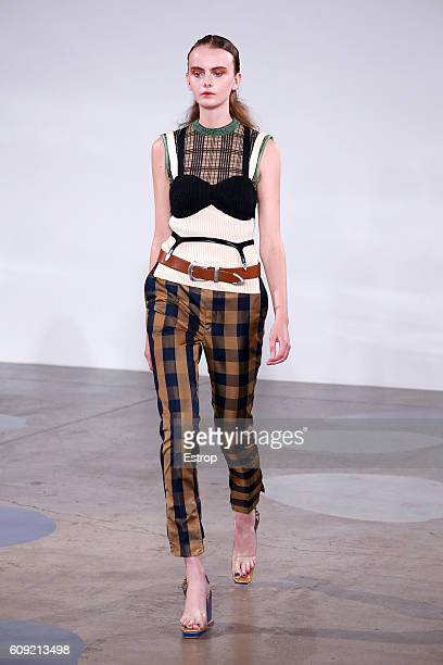 A model walks the runway at the Toga designed by Yasuko Furuta show during London Fashion Week Spring/Summer collections 2017 on September 20 2016 in...