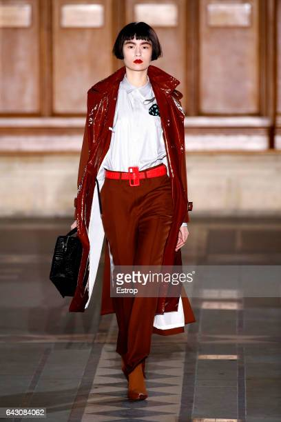 A model walks the runway at the TOGA designed by Yasuko Furuta show during the London Fashion Week February 2017 collections on February 19 2017 in...