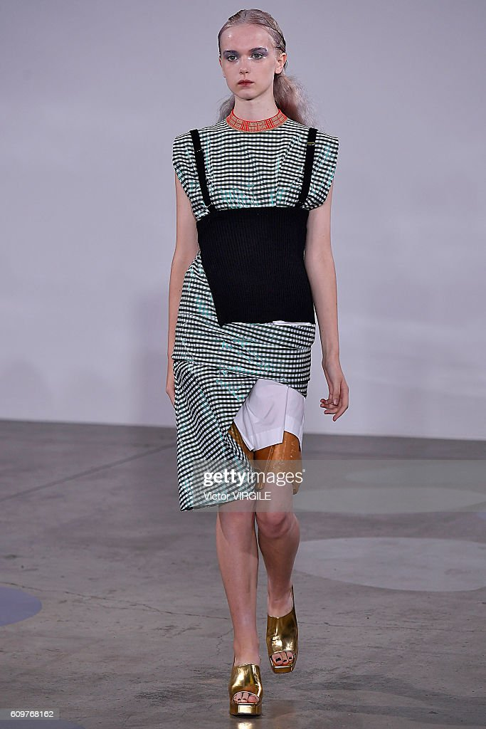A model walks the runway at the Toga Ready to Wear show during London Fashion Week Spring/Summer collections 2017 on September 20, 2016 in London, United Kingdom.