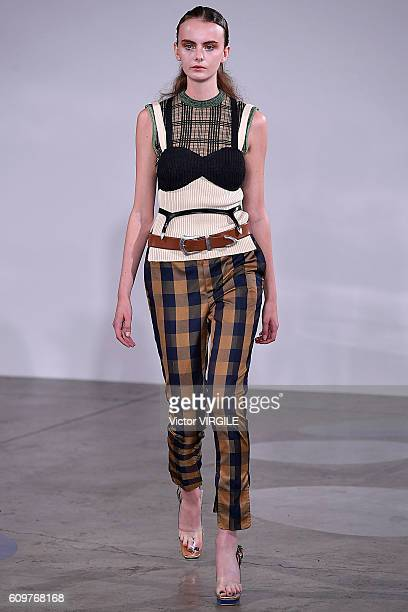 A model walks the runway at the Toga Ready to Wear show during London Fashion Week Spring/Summer collections 2017 on September 20 2016 in London...