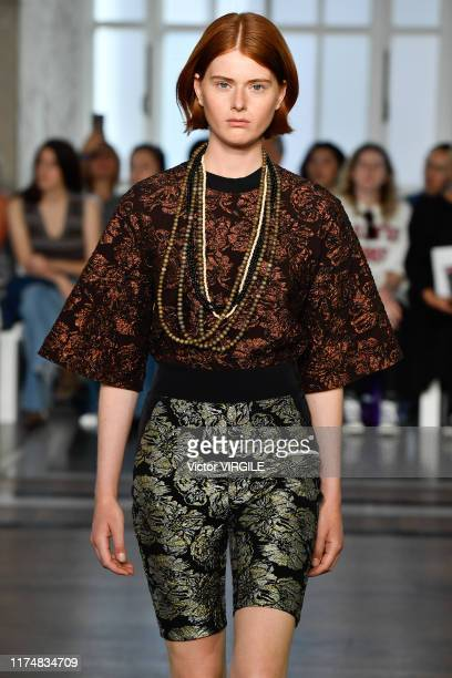 A model walks the runway at the Toga Ready to Wear Spring/Summer 2020 fashion show during London Fashion Week September 2019 on September 14 2019 in...