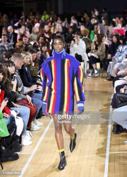 A model walks the runway at the Toga show during London Fashion Week February 2019 at the RIBA on February 16 2019 in London England