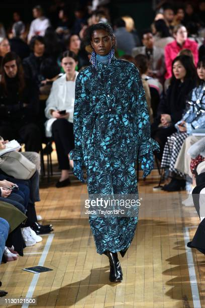 A model walks the runway at the TOGA show during London Fashion Week February 2019 on at the Seymour Leisure Centre on February 16 2019 in London...