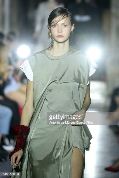 A model walks the runway at the TOGA show during London Fashion Week September 2017 on September 18 2017 in London England