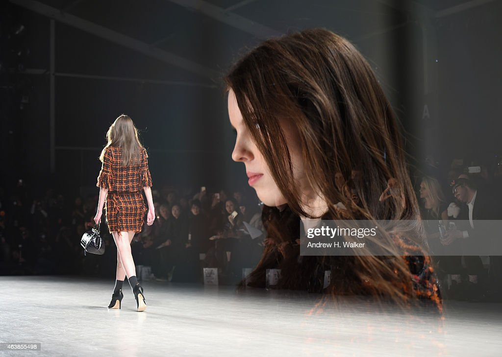 A model walks the runway at the Tokyo NY fashion show during Mercedes-Benz Fashion Week Fall 2015 on February 19, 2015 in New York City.