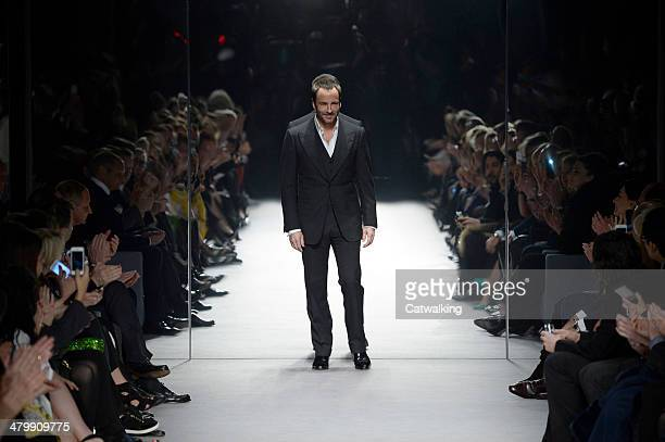 A model walks the runway at the Tom Ford Autumn Winter 2014 fashion show during London Fashion Week on February 17 2014 in London United Kingdom