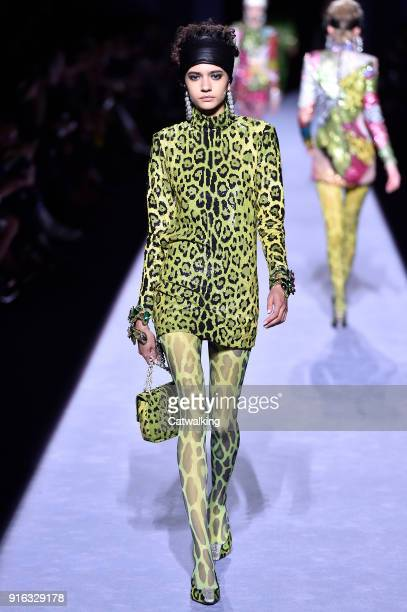 Model walks the runway at the Tom Ford Autumn Winter 2018 fashion show during New York Fashion Week on February 8, 2018 in New York, United States.