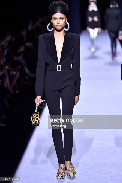 A model walks the runway at the Tom Ford Autumn Winter 2018 fashion show during New York Fashion Week on February 8 2018 in New York United States