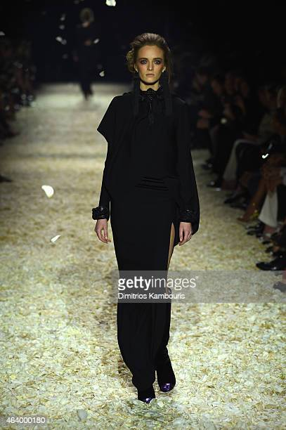 A model walks the runway at the TOM FORD Autumn/Winter 2015 Womenswear Collection Presentation at Milk Studios in Los Angeles on February 20 2015