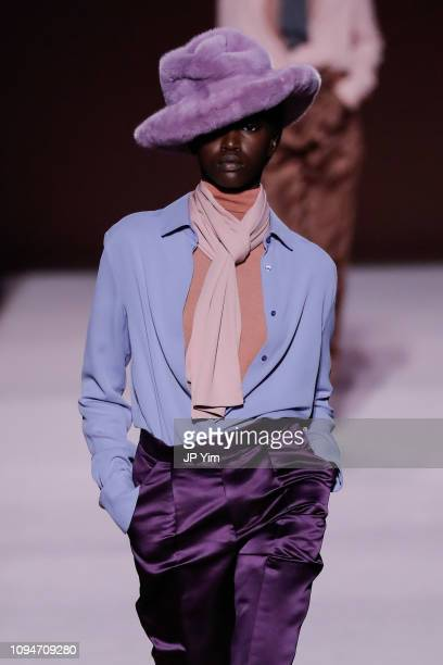 Model walks the runway at the Tom Ford Autumn/Winter 2019 Collection on February 6, 2019 in New York City.