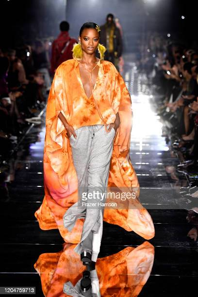 Model walks the runway at the Tom Ford AW20 Show at Milk Studios on February 07, 2020 in Hollywood, California.