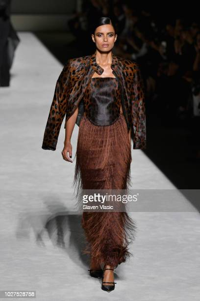 A model walks the runway at the Tom Ford fashion show during New York Fashion Week at Park Avenue Armory on September 5 2018 in New York City