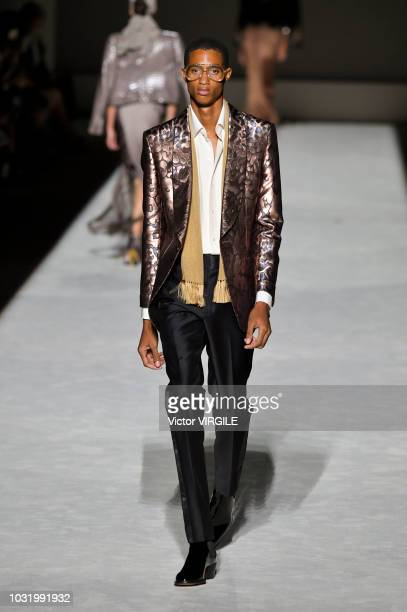 Model walks the runway at the Tom Ford fashion show during New York Fashion Week Spring/Summer 2019 on September 5, 2018 in New York City.