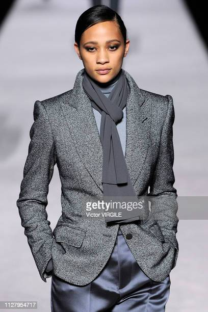 Model walks the runway at the Tom Ford Ready to Wear Autumn/Winter 2019-2020 fashion show on February 6, 2019 in New York City.