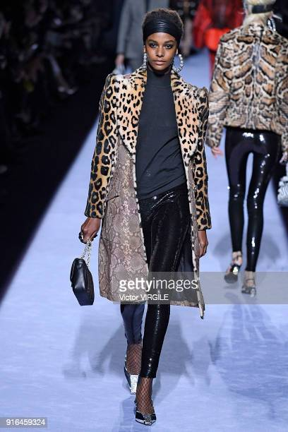 A model walks the runway at the Tom Ford Ready to Wear Fall/Winter 20182019 fashion show during New York Fashion Week at Park Avenue Armory on...