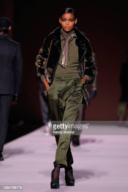 Model walks the runway at the Tom Ford Runway show February 2019 during New York Fashion Week at Park Avenue Armory on February 6, 2019 in New York...