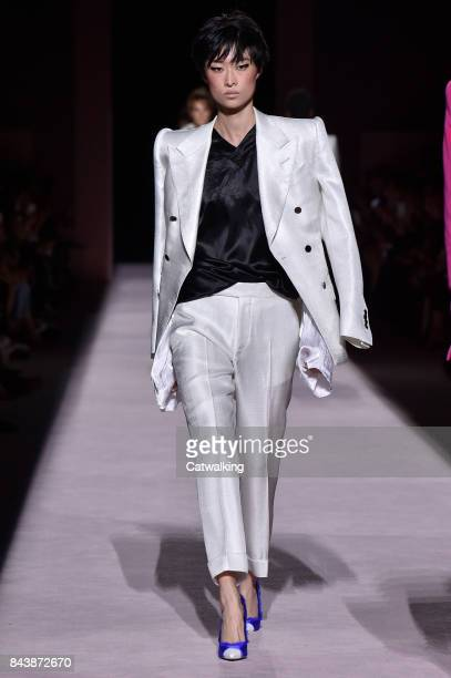 A model walks the runway at the Tom Ford Spring Summer 2018 fashion show during New York Fashion Week on September 6 2017 in New York United States