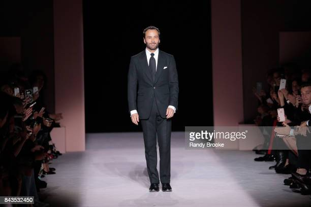 A model walks the runway at the Tom Ford Spring/Summer 2018 Runway Show during New York Fashion Week at the Park Avenue Armory on September 6 2017 in...