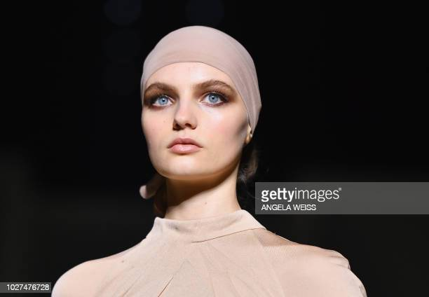 Model walks the runway at the Tom Ford SS19 Show at Park Avenue Armory in New York City on September 5, 2018.