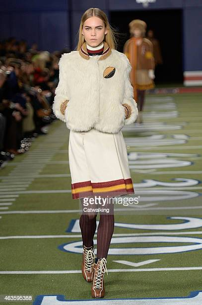 A model walks the runway at the Tommy Hilfiger Autumn Winter 2015 fashion show during New York Fashion Week on February 16 2015 in New York United...