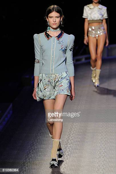 Model walks the runway at the Tommy Hilfiger Autumn Winter 2016 fashion show during New York Fashion Week on February 15, 2016 in New York, United...