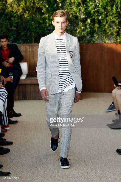 A model walks the runway at the Tommy Hilfiger Men's Spring 2013 fashion show during MercedesBenz Fashion Week at Maritime Hotel on September 7 2012...