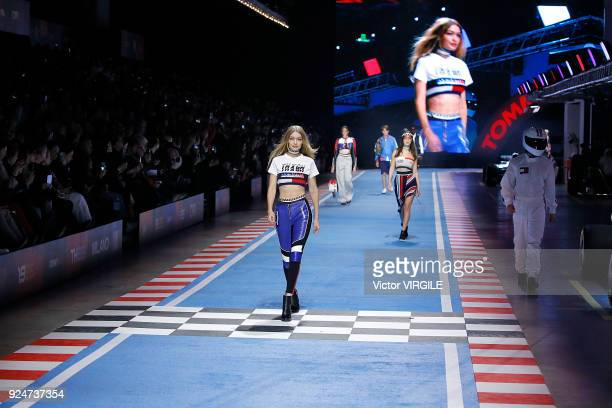 A model walks the runway at the Tommy Hilfiger Ready to Wear Spring/Summer 2018 fashion show during Milan Fashion Week Fall/Winter 2018/19 on...