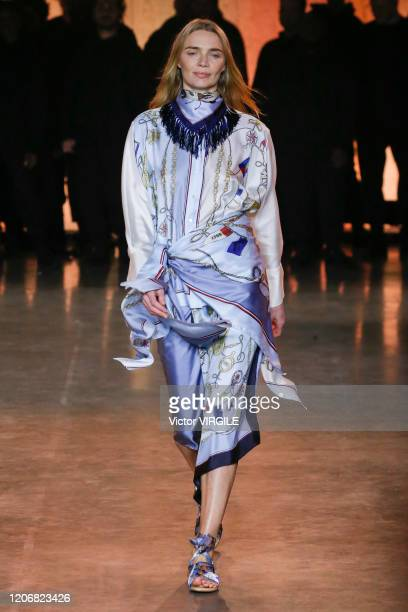 Model walks the runway at the Tommy Hilfiger Ready to Wear Spring/Summer 2020 fashion show during London Fashion Week on February 16, 2020 in London,...